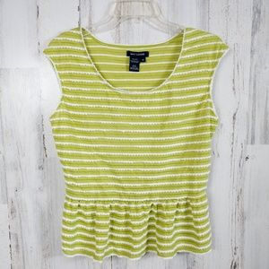 🌿 Max Edition Green Striped Peplum Top Medium